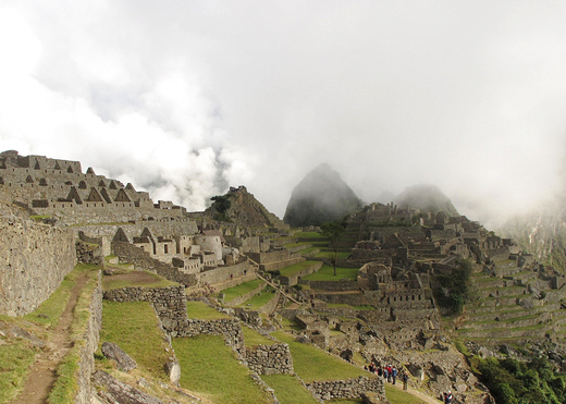 clouds rising over machu picchu
