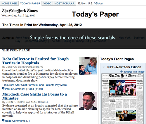 Fear on the cover of the New York Times