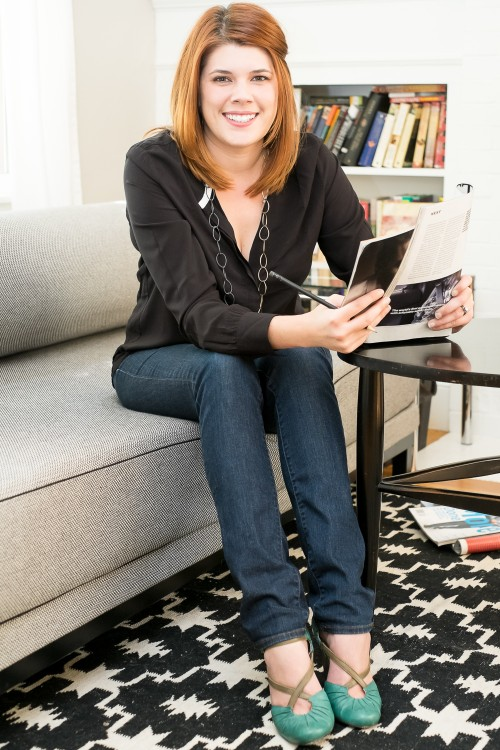 Brigitte Lyons with a magazine