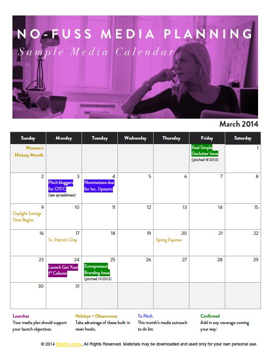 Sample Media Calendar
