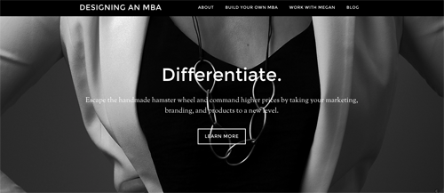 Megan Auman created a new site for Designing an MBA, because the mission of that work is distinct from her jewelry business.
