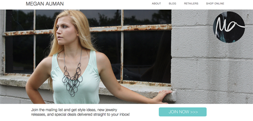 Megan Auman's home page is focused on customers of her jewelry business.